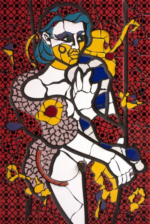 Orodè Deoro, 5.Senza parole, 2015, ceramica ritagliata a mano e stucco su pannello, cm 60x90