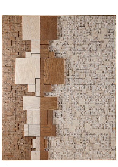 Alessandra Rota, L5, 2013, cm 80x100x4,1 legno frassino tinto bianco e marrone pastello